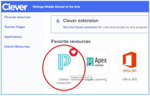 Screenshot with Unified Classroom circled